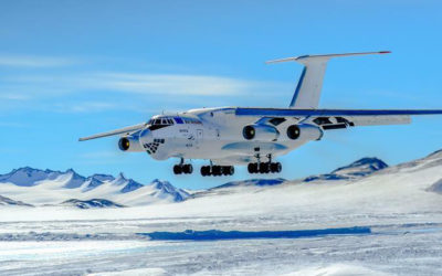 Landing on Blue Iced runway Antarctica