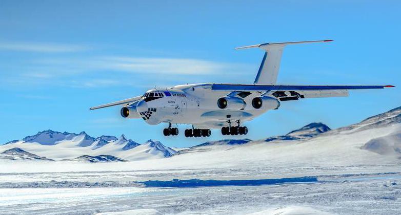 Landing on Blue Iced runway Antarctica